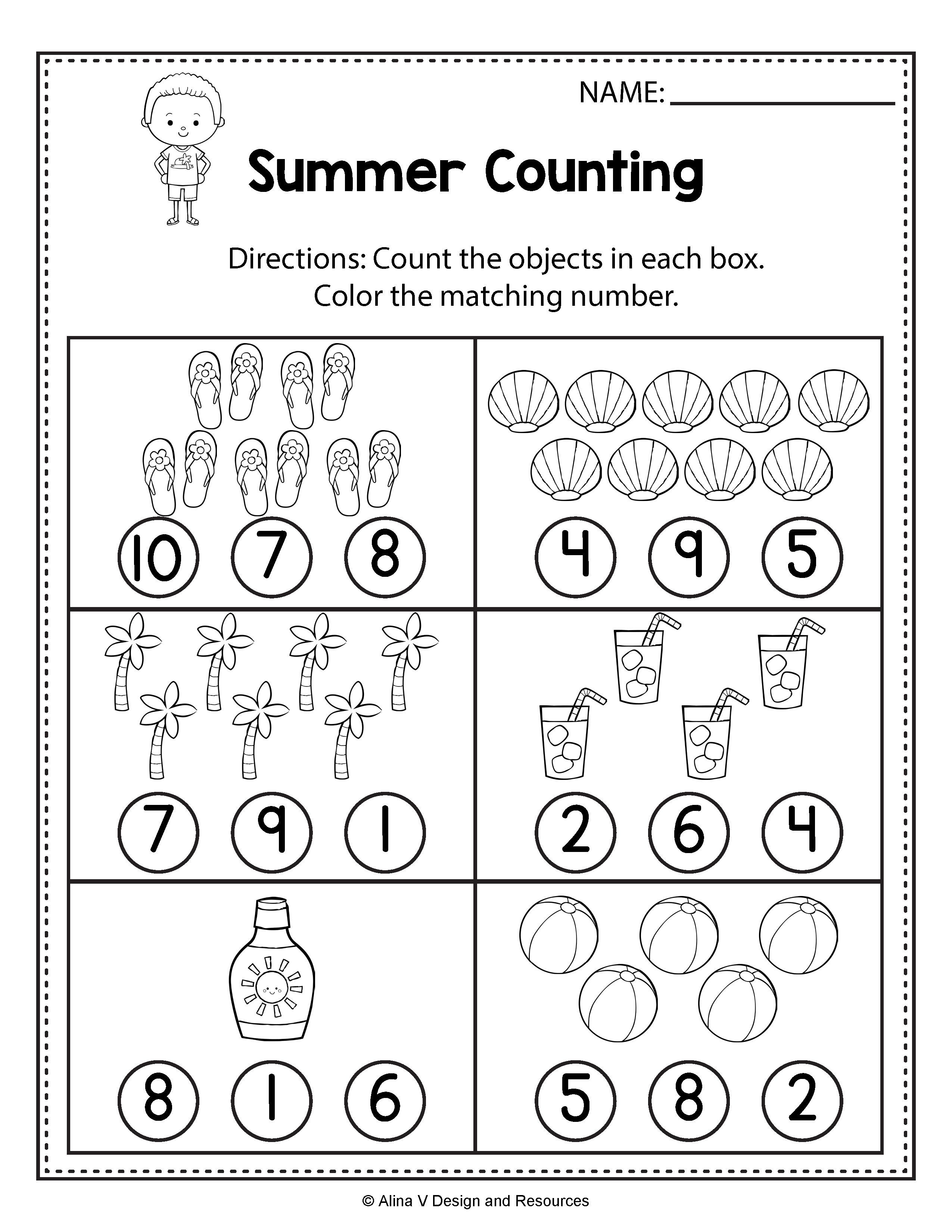 Preschool Math Worksheets Counting Worksheets Summer Math Worksheets and Activities