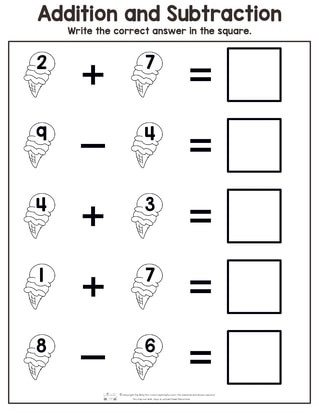 Preschool Math Worksheets Summer Addition and Subtraction Worksheets Itsy Bitsy Fun