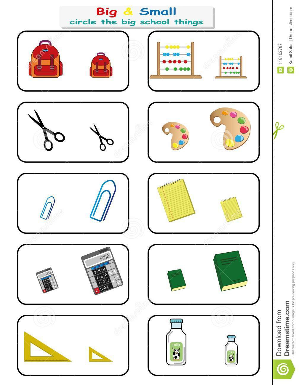 Preschool Opposite Worksheet Circle the Big School Things Find Big Small Worksheet