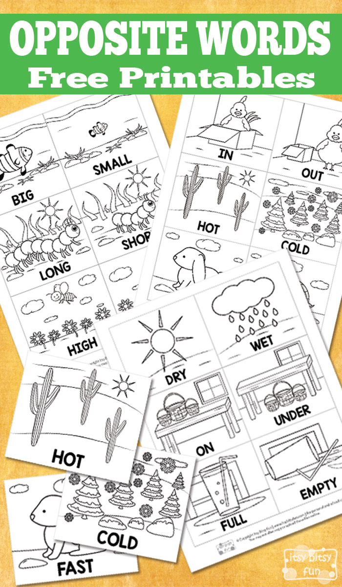 Preschool Opposite Worksheet Free Opposite Words Printables Itsy Bitsy Fun