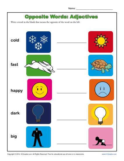 Preschool Opposite Worksheet Kindergarten Antonym Worksheet Opposite Words Adjectives
