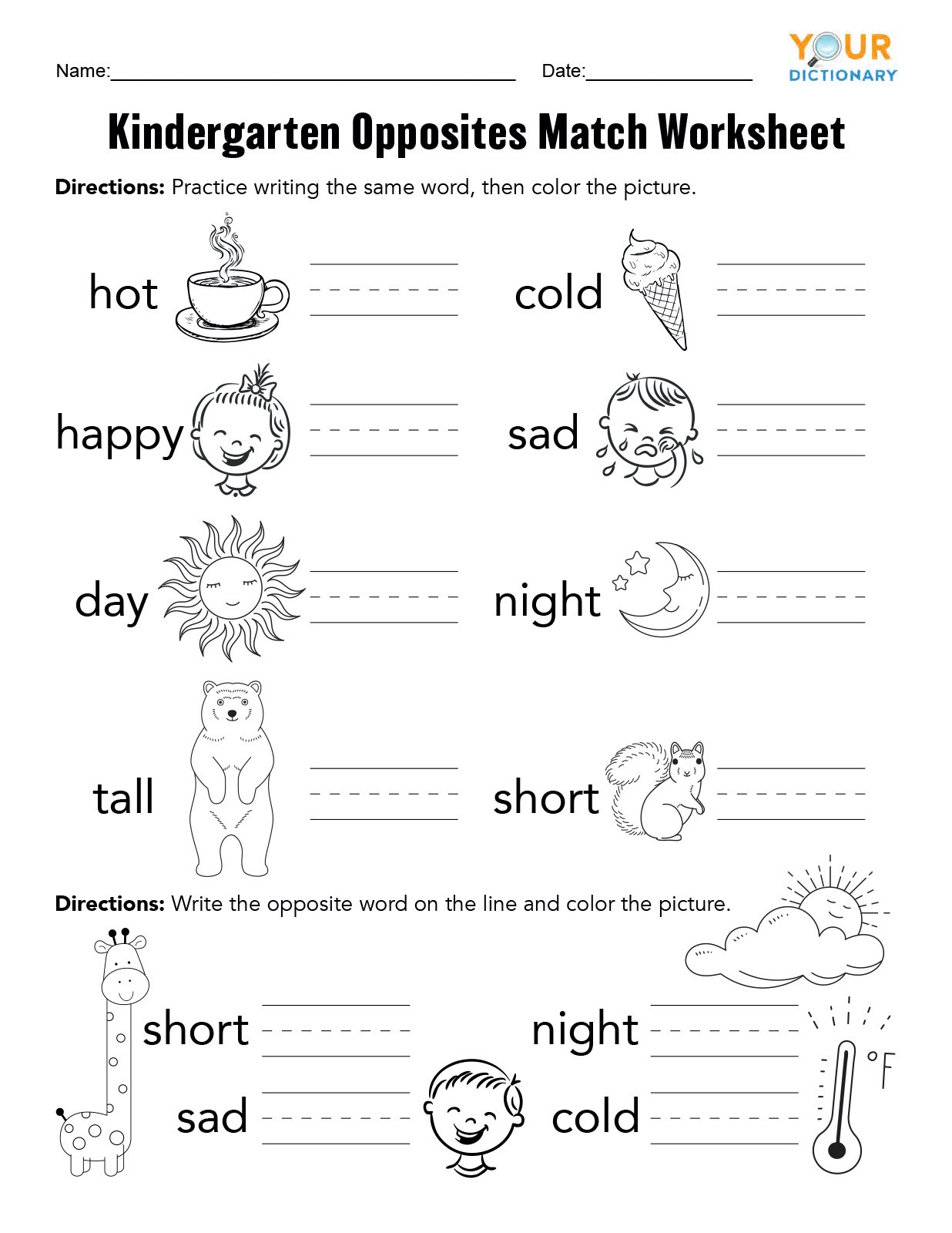 Preschool Opposite Worksheet Kindergarten Opposites Activities