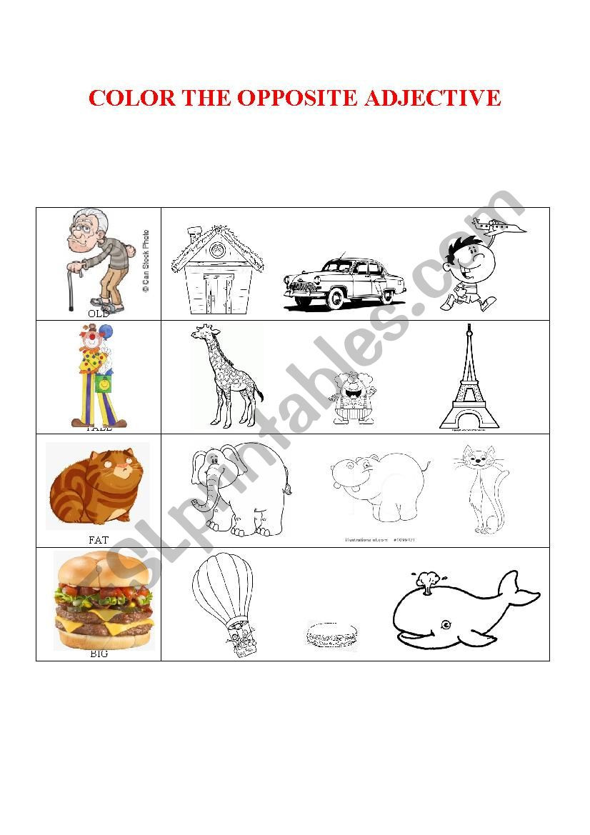 Preschool Opposite Worksheet Opposite Adjectives Preschoolers Esl Worksheet by T Mi