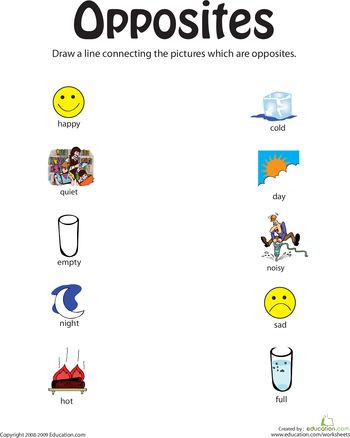 Preschool Opposites Worksheets Identifying Opposites From Happy to Full
