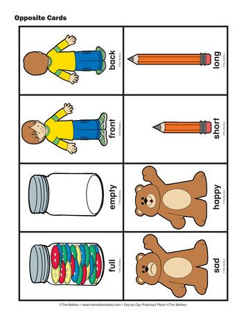 Preschool Opposites Worksheets Opposite Cards