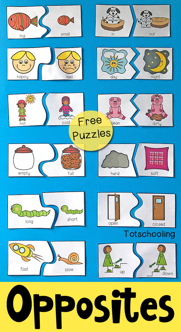 Preschool Opposites Worksheets Opposites Puzzles for Preschool
