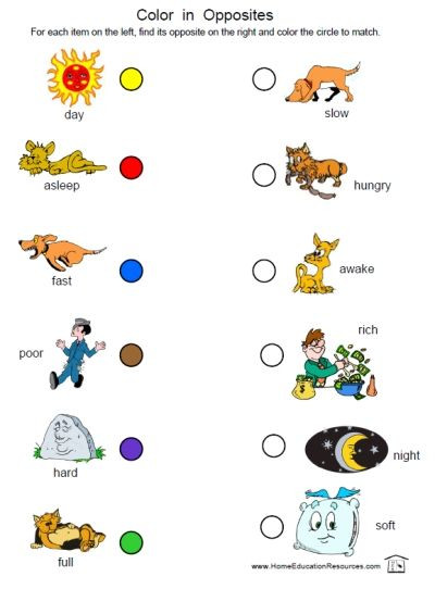 Preschool Opposites Worksheets Printables Shop