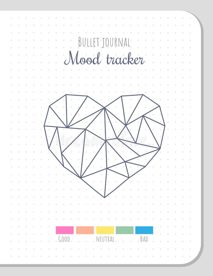 Printable Heart Diagram Mood Tracker In Polygonal Heart Shape Blank Template Stock