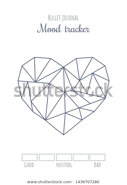 Printable Heart Diagram Printable Mood Tracker Simple Polygonal Heart เวกเตอร์สต็อก