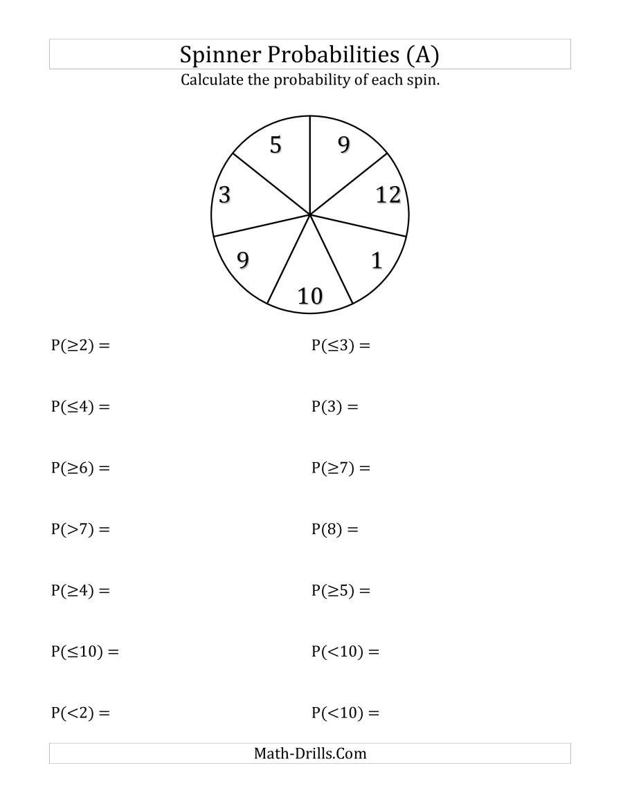 Probability Worksheets 7th Grade 7 Section Spinner Probabilities A
