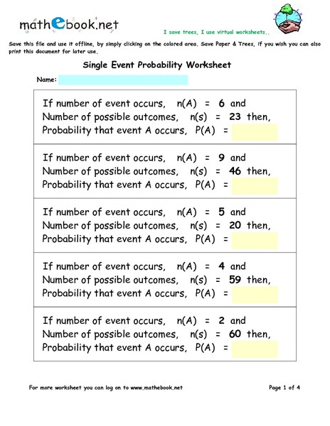 single event probability worksheet