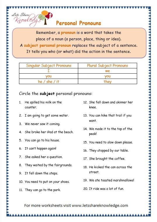 Pronoun Worksheet for 2nd Grade Grade Grammar topic Personal Pronouns Worksheets with