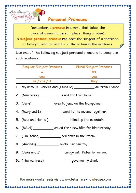Pronoun Worksheets 2nd Grade Grade 3 Grammar topic 10 Personal Pronouns Worksheets