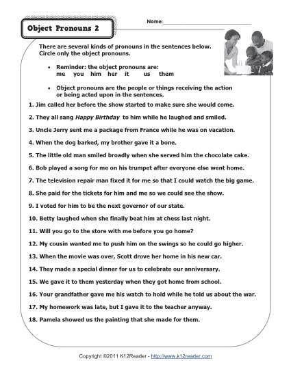 Pronoun Worksheets 2nd Grade Object Pronouns 2