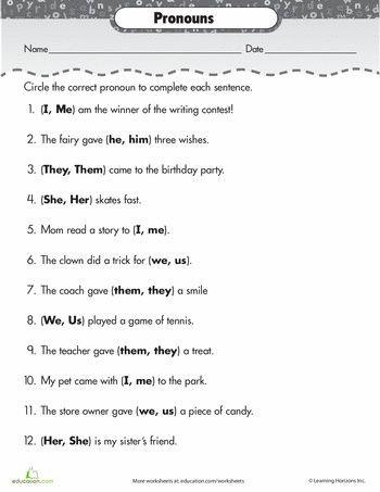 Pronoun Worksheets 2nd Grade Paper Sentence for Class 1