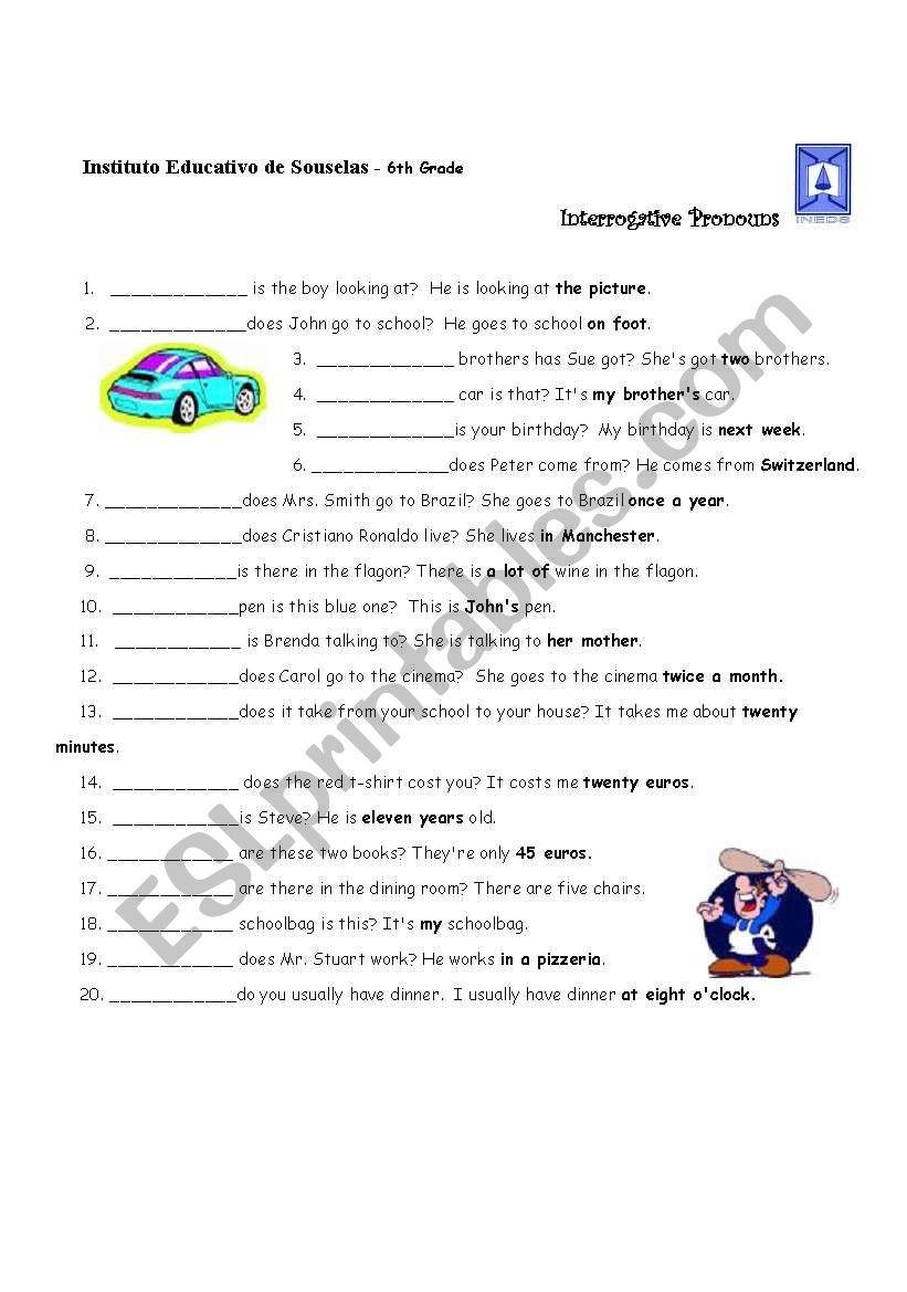 Pronoun Worksheets 6th Grade Interrogative Pronouns Esl Worksheet by Lhmoniz