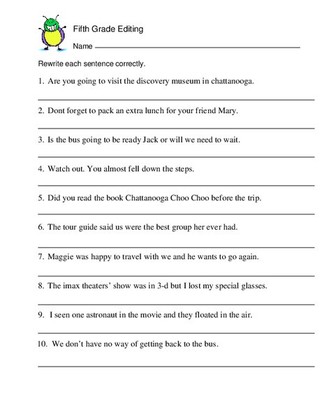 Proofreading Worksheets 5th Grade Fifth Grade Editing Worksheet for 5th 6th Grade