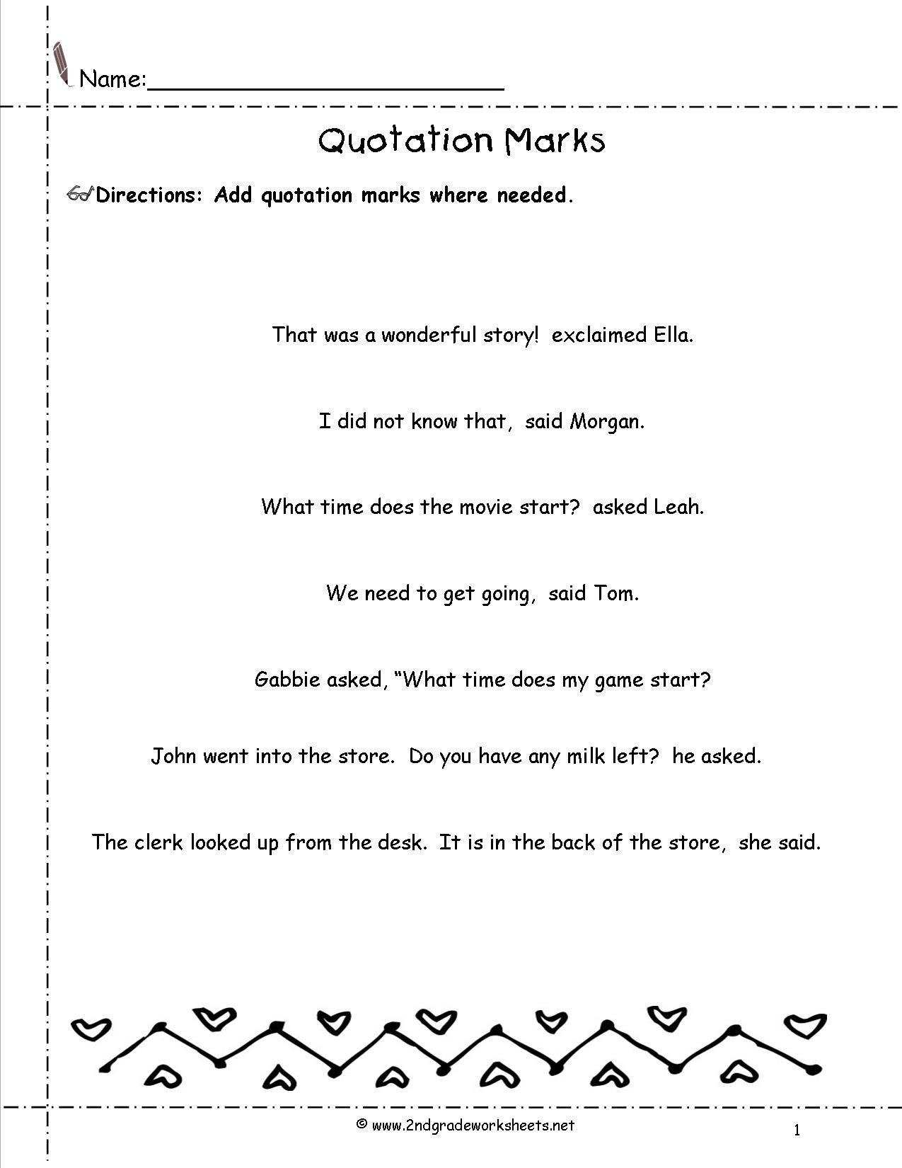 Quotation Worksheets 4th Grade 80 Worksheets for Quotation Marks 2nd Grade 2nd Quotation