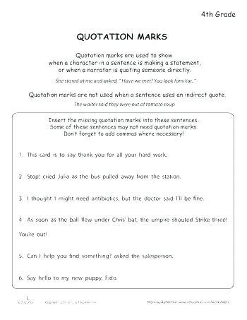 Quotation Worksheets 4th Grade Bizikiub