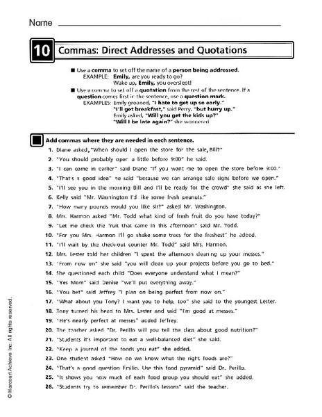Quotation Worksheets 4th Grade Mas Direct Addresses and Quotations Worksheet for 4th