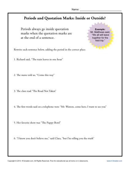 Quotation Worksheets 4th Grade Periods and Quotation Marks Inside or Outside