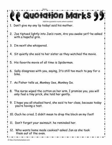 Quotation Worksheets 4th Grade Quotation Marks Worksheet 2 Worksheets