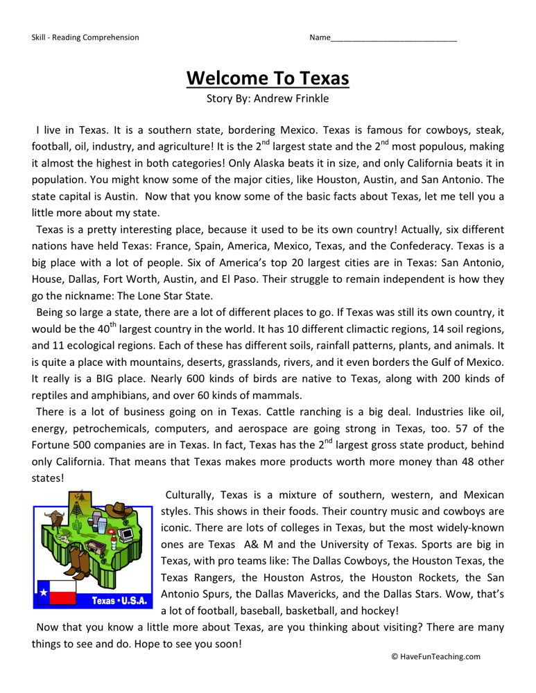 Reading Comprehension Worksheets 6th Grade Reading Prehension Worksheet Wel E to Texas with