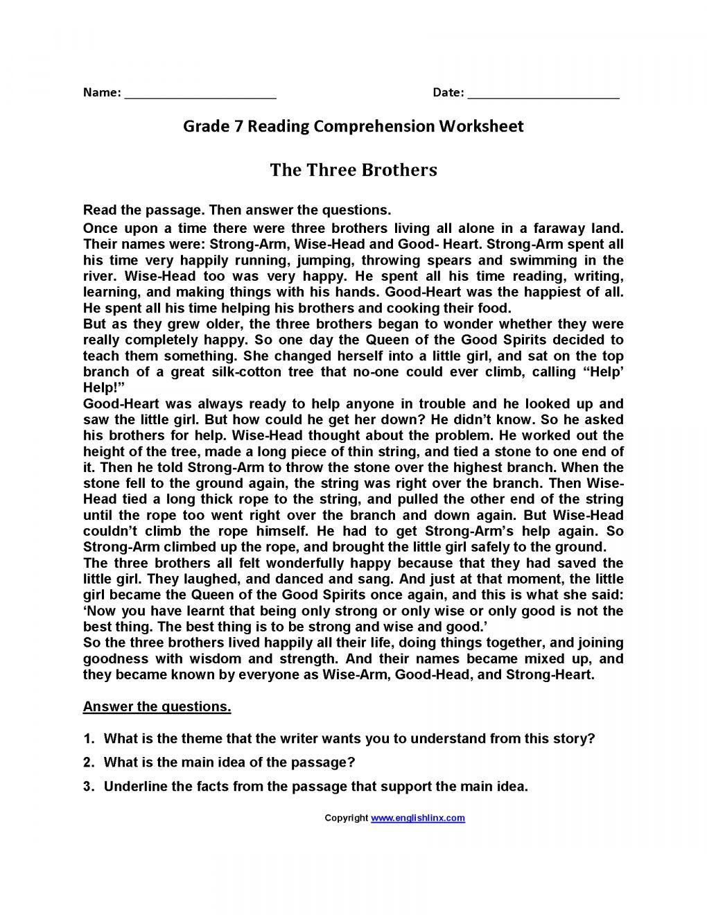 Reading Comprehension Worksheets 7th Grade 12 7th Grade Summarizing Worksheet