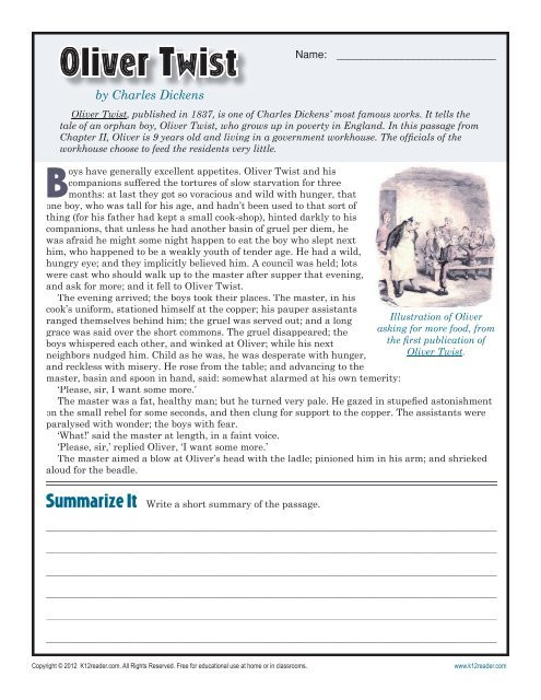 Reading Comprehension Worksheets 7th Grade Oliver Twist