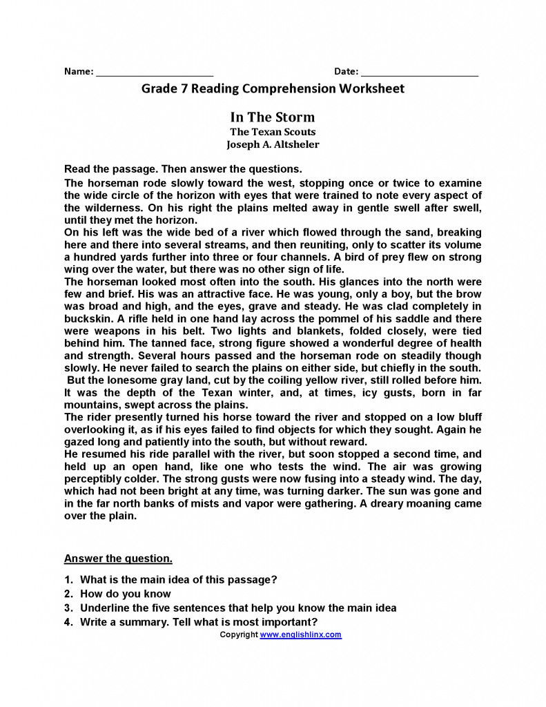 Reading Comprehension Worksheets 7th Grade Pin On Elem Reading Spelling