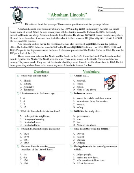 "Reading Comprehension Worksheets 7th Grade Reading Prehension Informational Passages ""abraham"