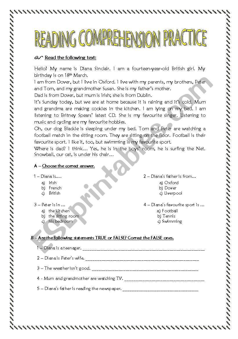Reading Comprehension Worksheets 7th Grade Reading Prehension Practice for 7th Graders Esl