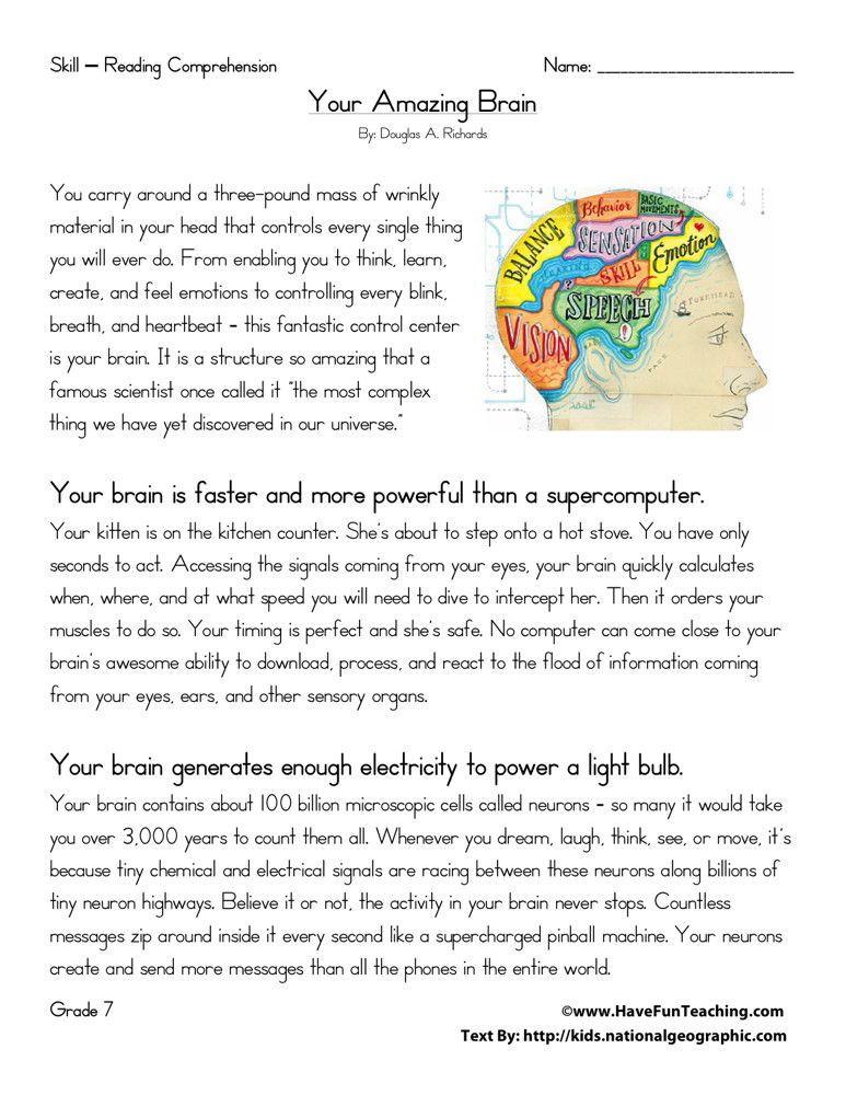 Reading Comprehension Worksheets 7th Grade Reading Prehension Worksheet Your Amazing Brain