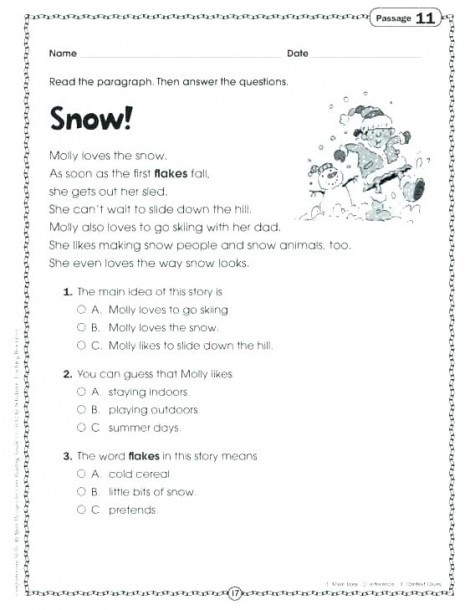 reading prehension worksheets 7th grade