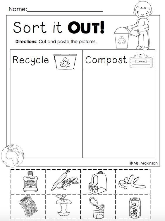 Recycle Worksheets for Preschoolers Earth Day Free