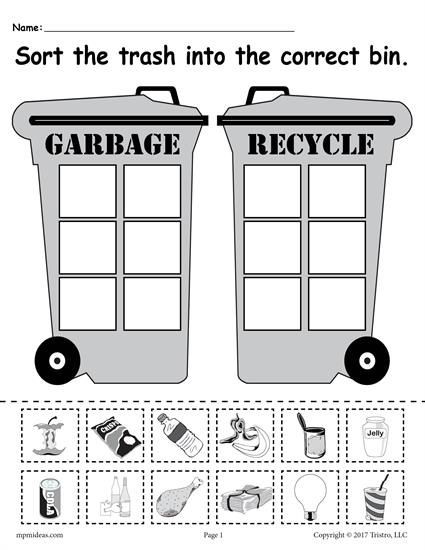 Recycle Worksheets for Preschoolers sorting Trash Earth Day Recycling Worksheets 4 Printable