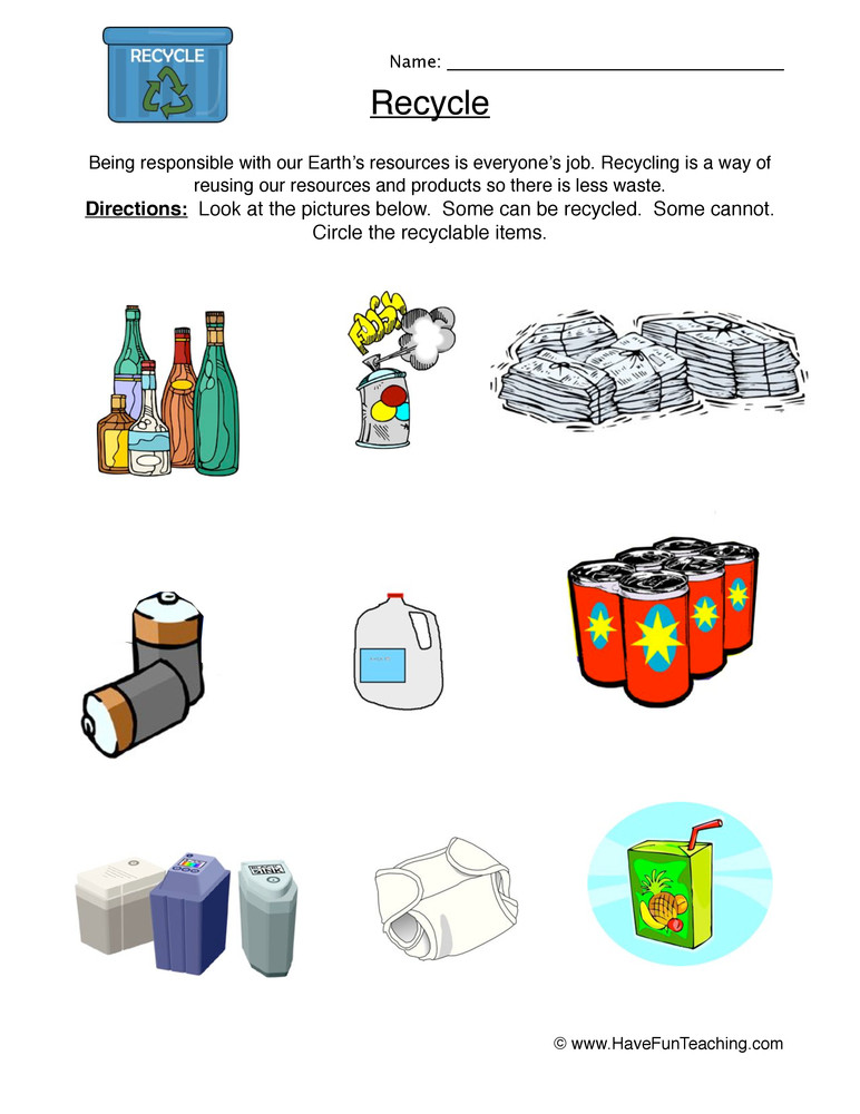 Recycling Worksheets for Preschoolers Recycle Worksheet