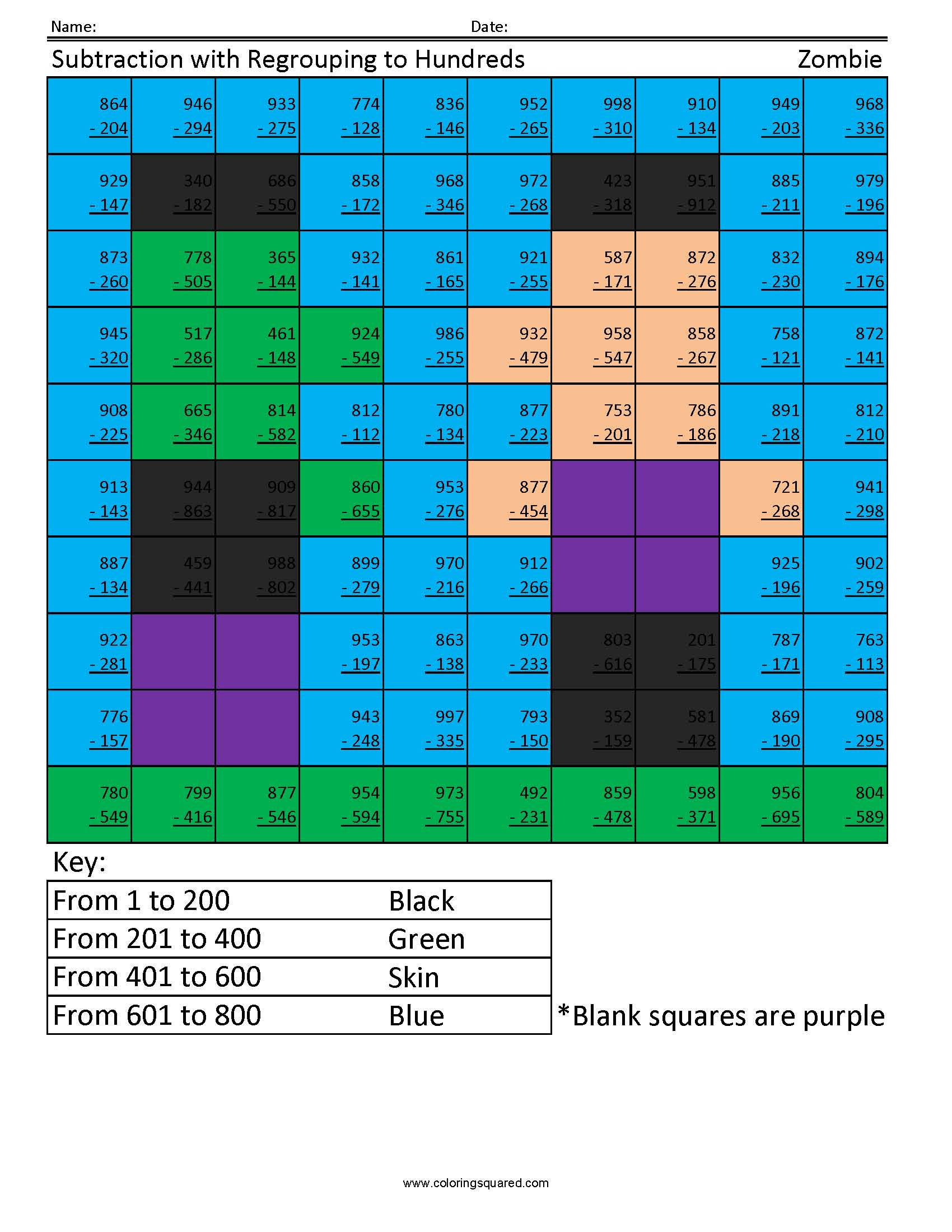 Regrouping Subtraction Worksheets 3rd Grade Subtraction with Regrouping Zombie Coloring Squared