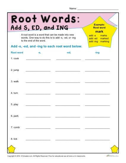 Root Word Worksheets 3rd Grade Ed Ing S Endings Worksheets Google Search