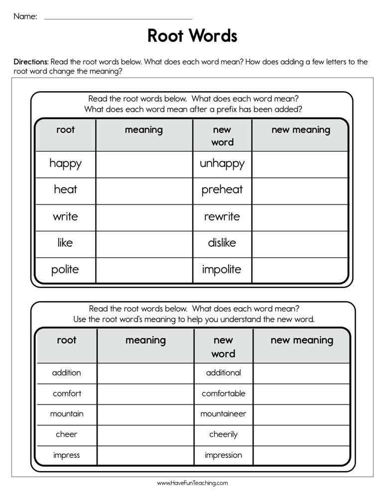 Root Word Worksheets 4th Grade Root Words Worksheet