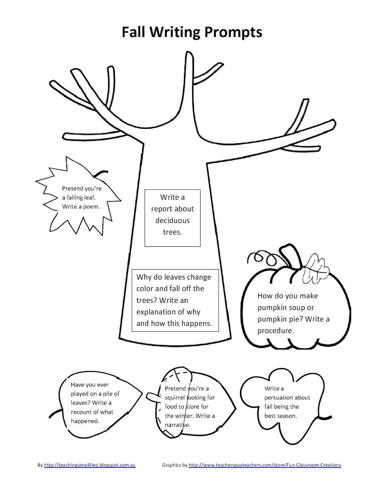 Saxon Math Kindergarten Worksheets Ilma Education Spring and Fall Writing Prompts Sheets