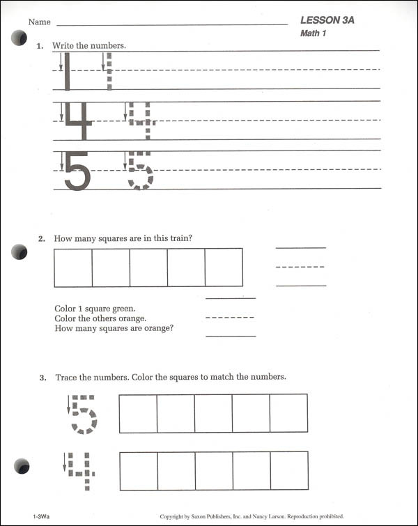 Saxon Math Kindergarten Worksheets Saxon Math 1 Student Workbooks Fact Cards