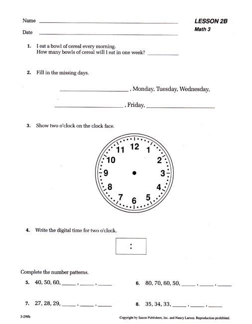 Saxon Math Second Grade Worksheets Saxon Math 3 Worksheets & Saxon Math 3 Meeting Book