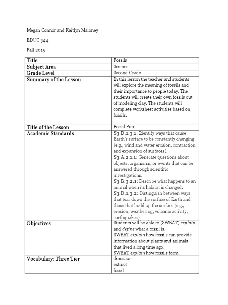 Science Fusion Grade 3 Worksheets Educ 344 Science Fusion Inquiry Lesson Plan Fossil