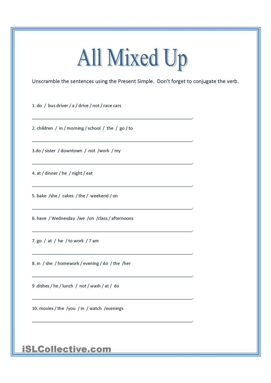 Scrambled Sentences Worksheets 2nd Grade All Mixed Up Sentence Scramble
