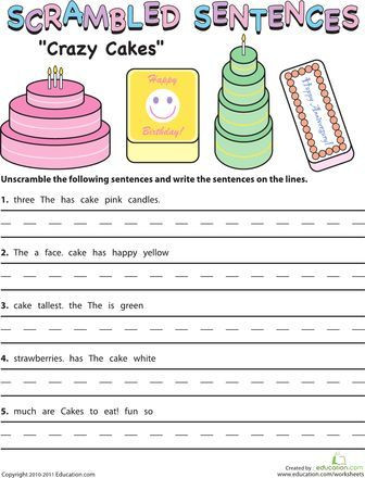 Scrambled Sentences Worksheets 2nd Grade Scrambled Sentences Crazy Cakes