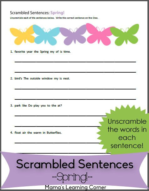 Scrambled Sentences Worksheets 2nd Grade Scrambled Sentences Worksheet for Spring
