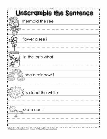 Scrambled Sentences Worksheets 2nd Grade Unscramble the Sentence Worksheets