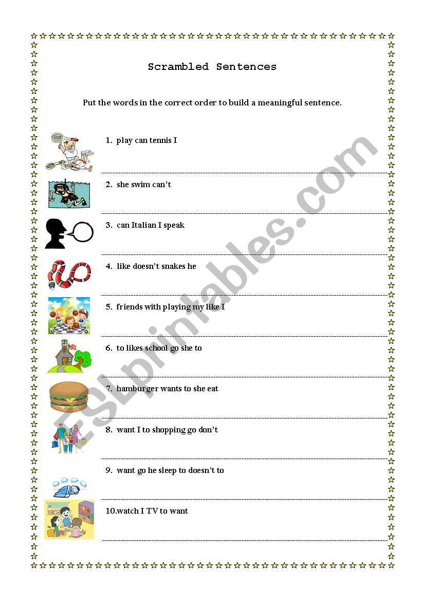 Scrambled Sentences Worksheets 3rd Grade Scrambled Sentences Esl Worksheet by Basol