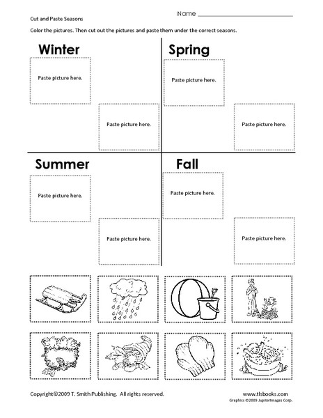 Seasons Worksheets for First Grade Cut and Paste Seasons Worksheet for 1st 2nd Grade